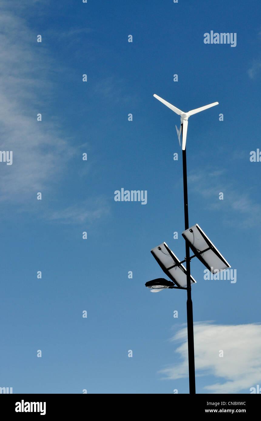 solarbetriebene Straße Licht Stockbild