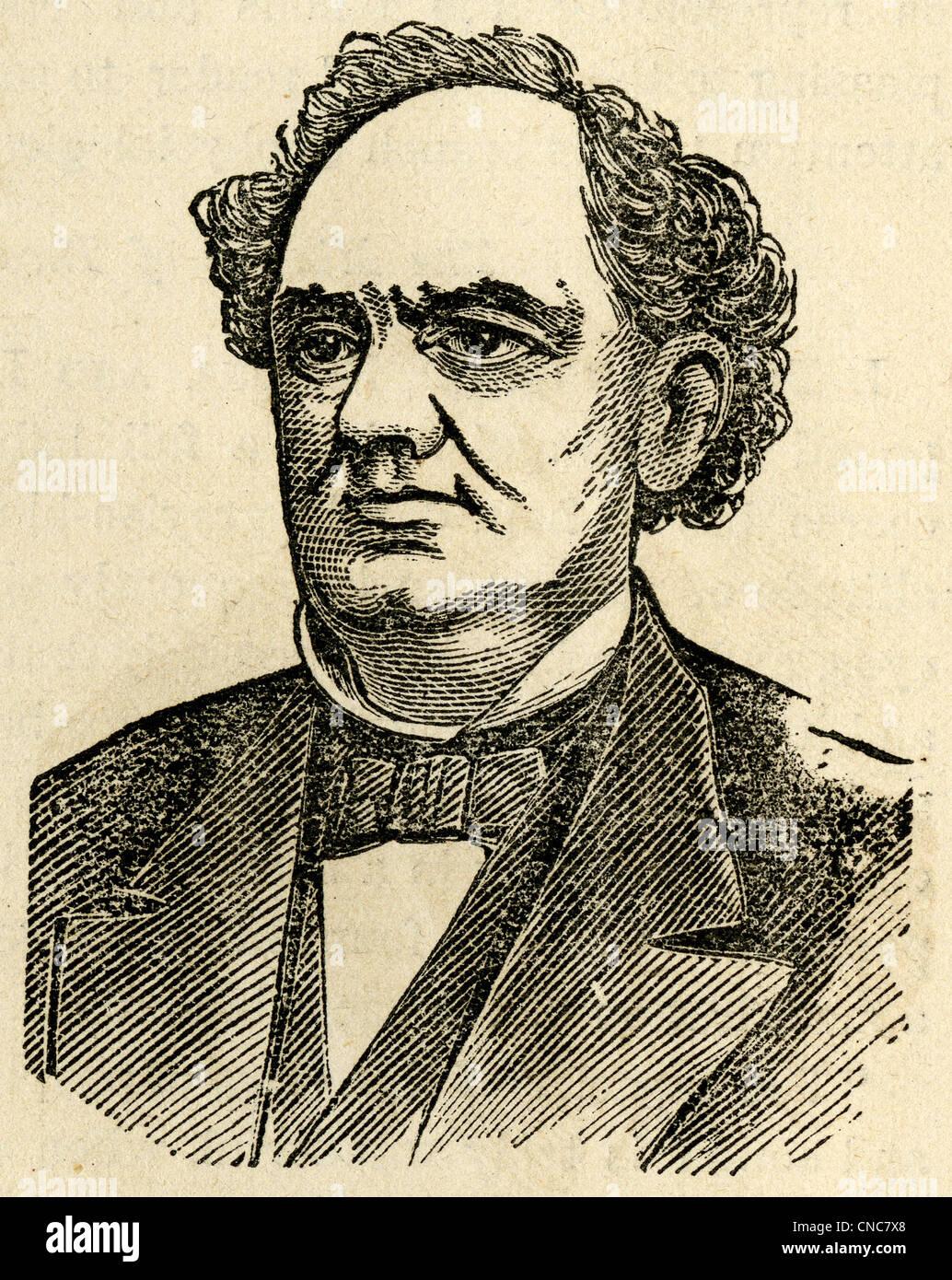 Einfache 1871 Holzschnitt Kupferstich von PT Barnum. Stockbild