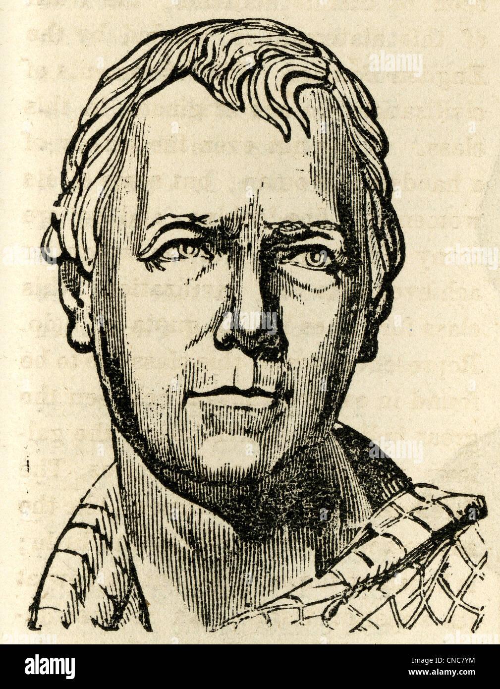 Einfache 1871 Holzschnitt Kupferstich von Sir Walter Scott. Stockbild