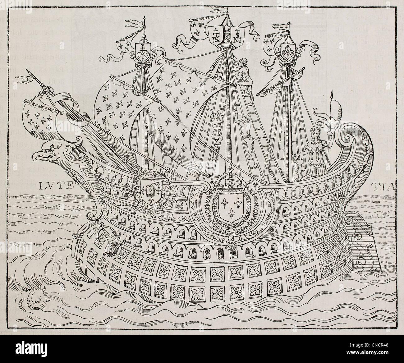 Damit verbundenen französischen Drucker Buchmarke (Ende 16. Jahrhundert) Stockbild