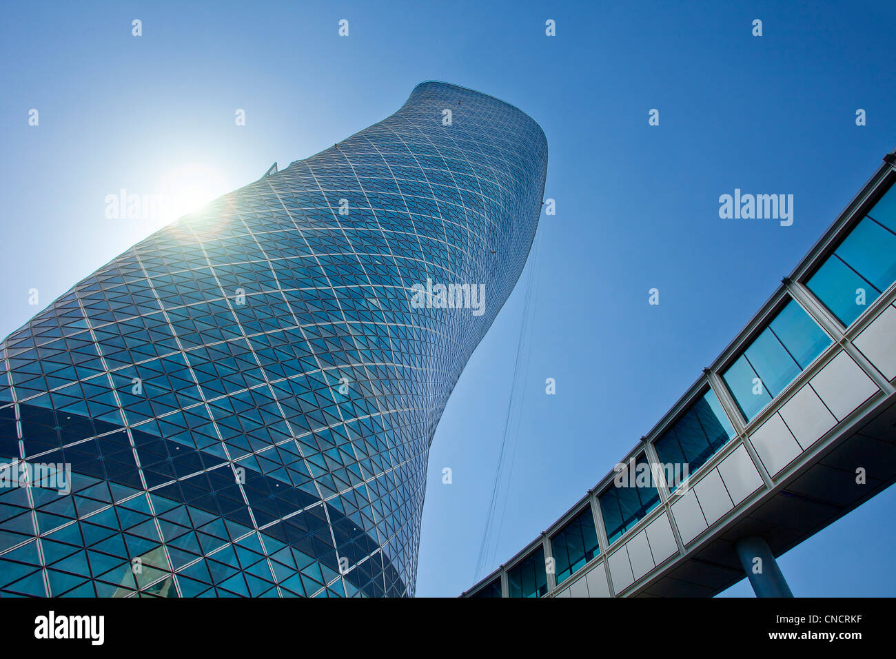 Abu Dhabi, Hyatt Capital Gate Hotel Stockbild