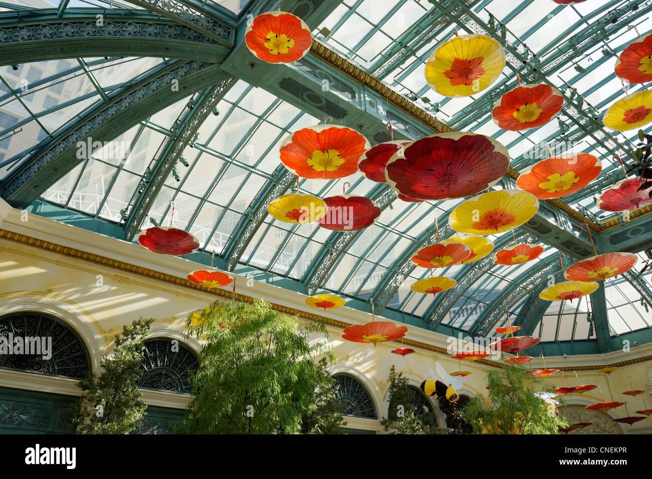 Bellagio Hotel und Casino, Decke von Las Vegas, Wintergarten, Garten Stockbild