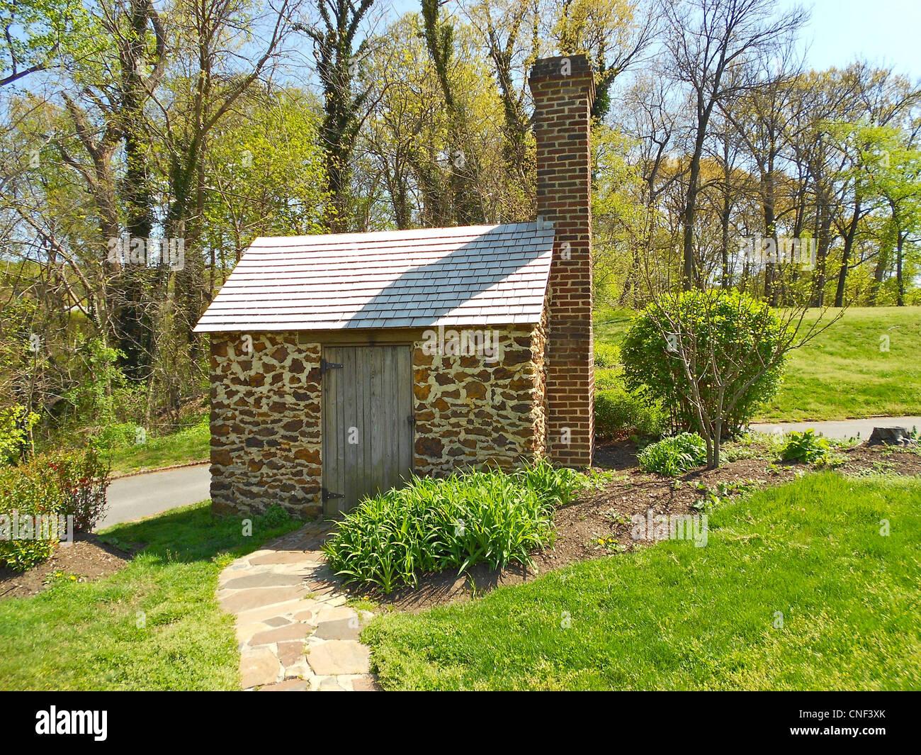 """Rekonstruktion des """"Growlery"""" wo Fredricl Douglass neben seinem Haus in Sprachinstitutionen, DC gearbeitet. Stockbild"""