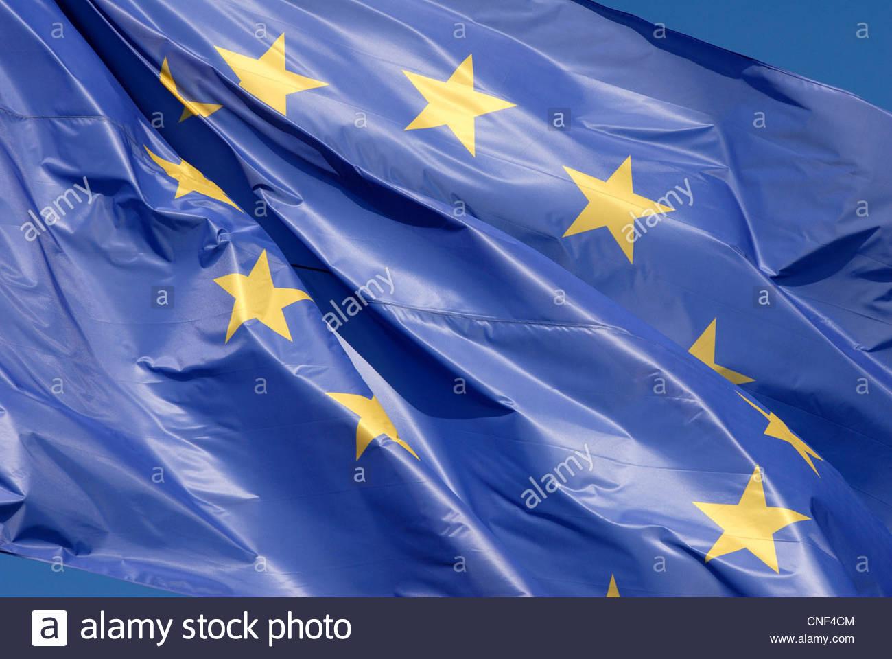 Amsterdam Niederlande die Flagge der Europäischen Union, das im Wind wehende. Stockbild