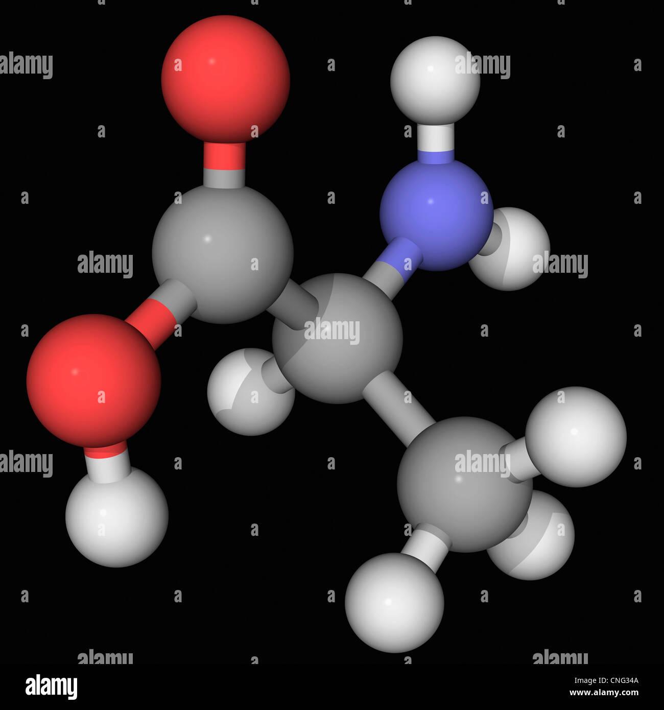 Alanin-Molekül Stockbild
