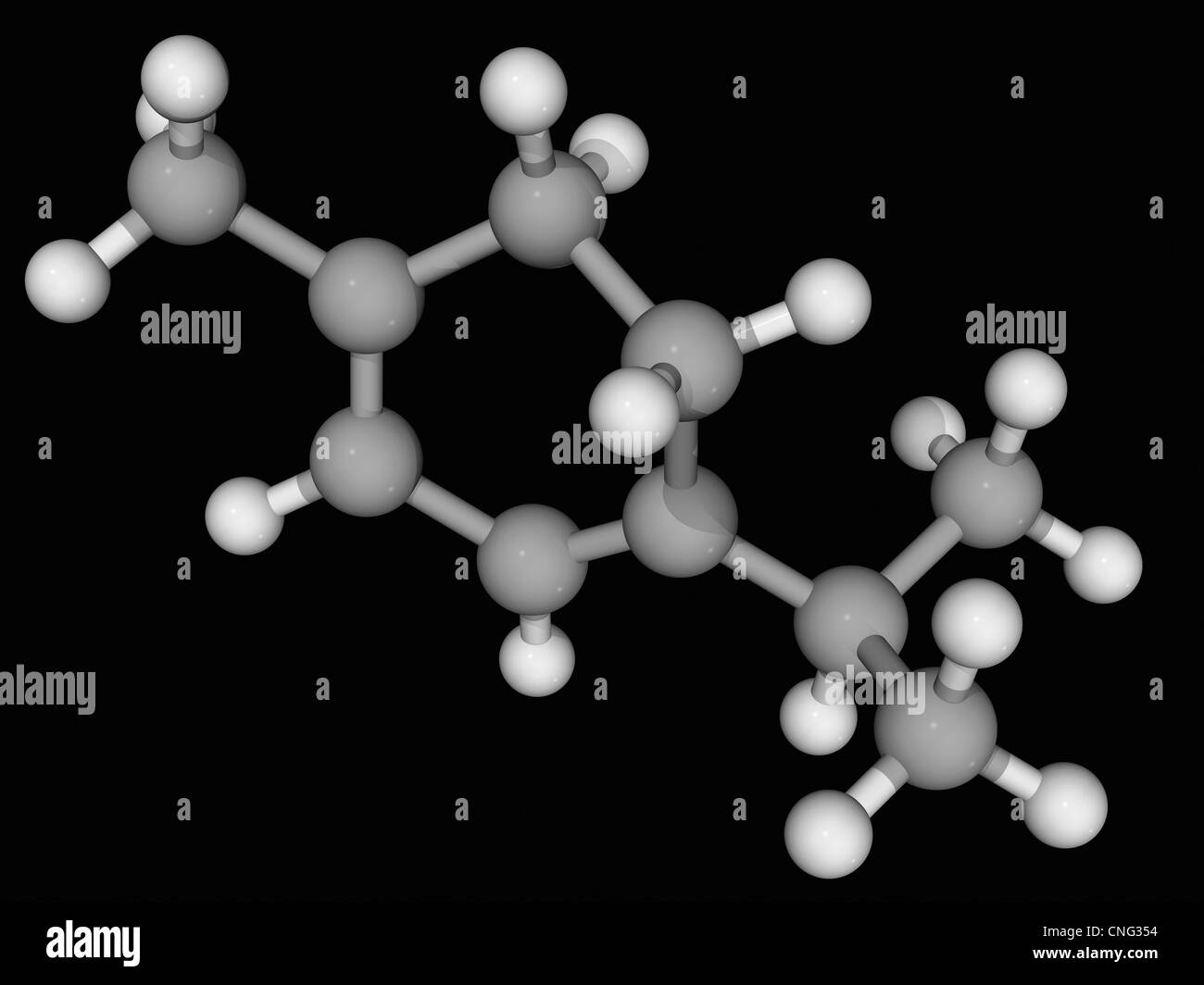 Alpha-Terpinene-Molekül Stockbild