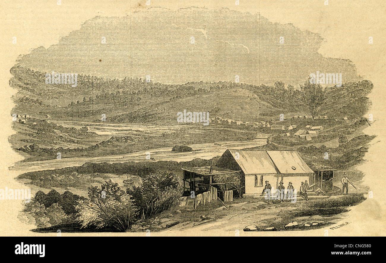 1854-Gravur, Bergmanns-Zelt am Ross Bar auf dem Yuba River, Kalifornien. Stockbild