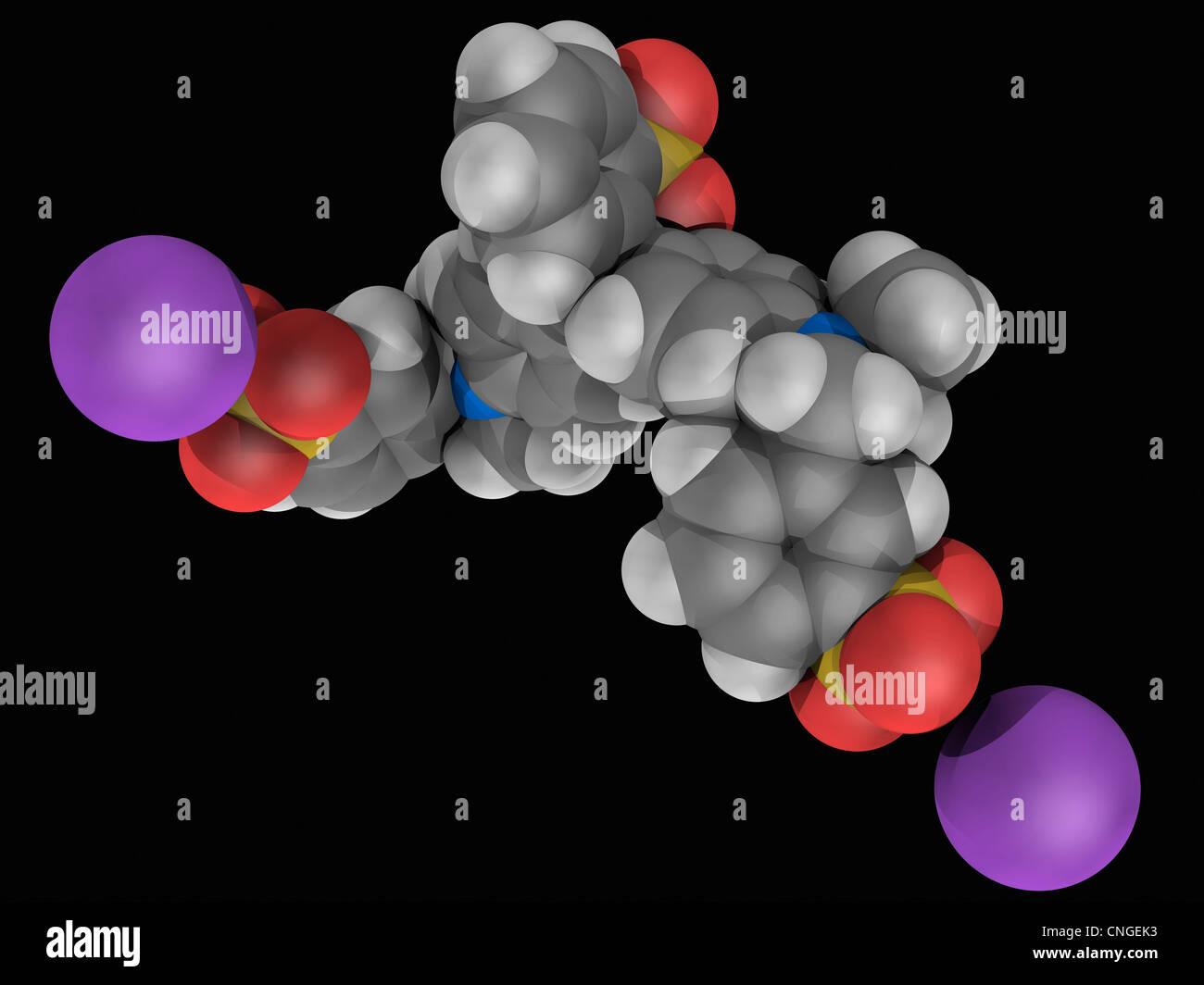 Brilliant Blau FCF-Molekül Stockbild