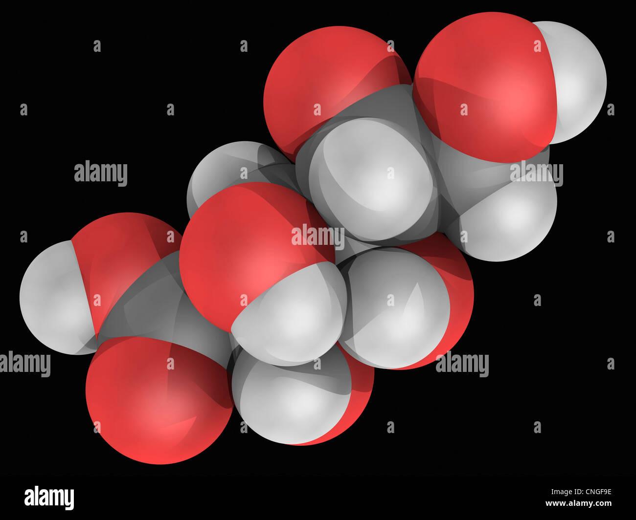 Glucon-Säure-Molekül Stockbild