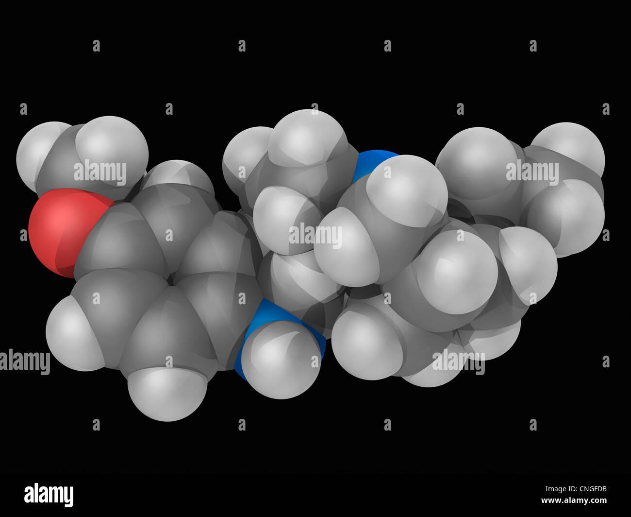 Ibogain Wirkstoffmolekül Stockbild