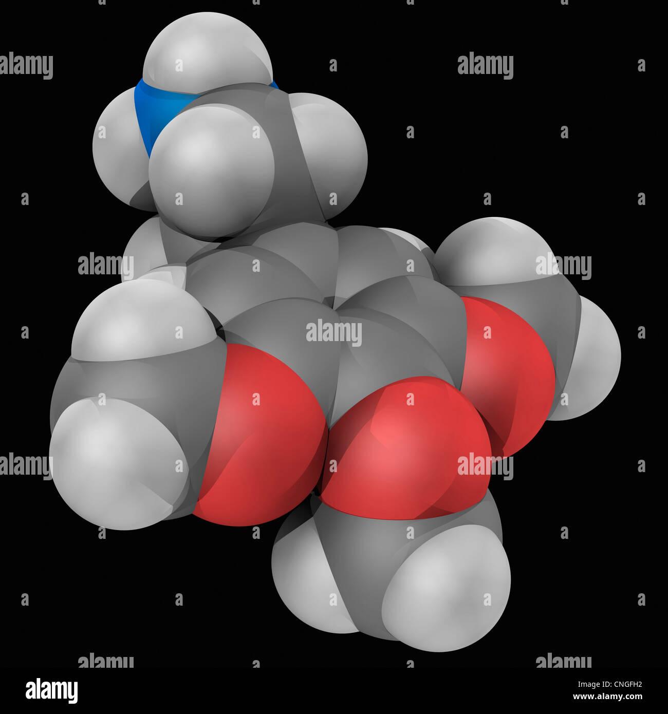 Meskalin Wirkstoffmolekül Stockbild