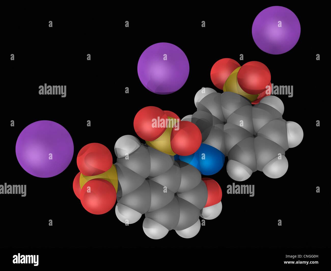 Ponceau 4R Molekül Stockbild