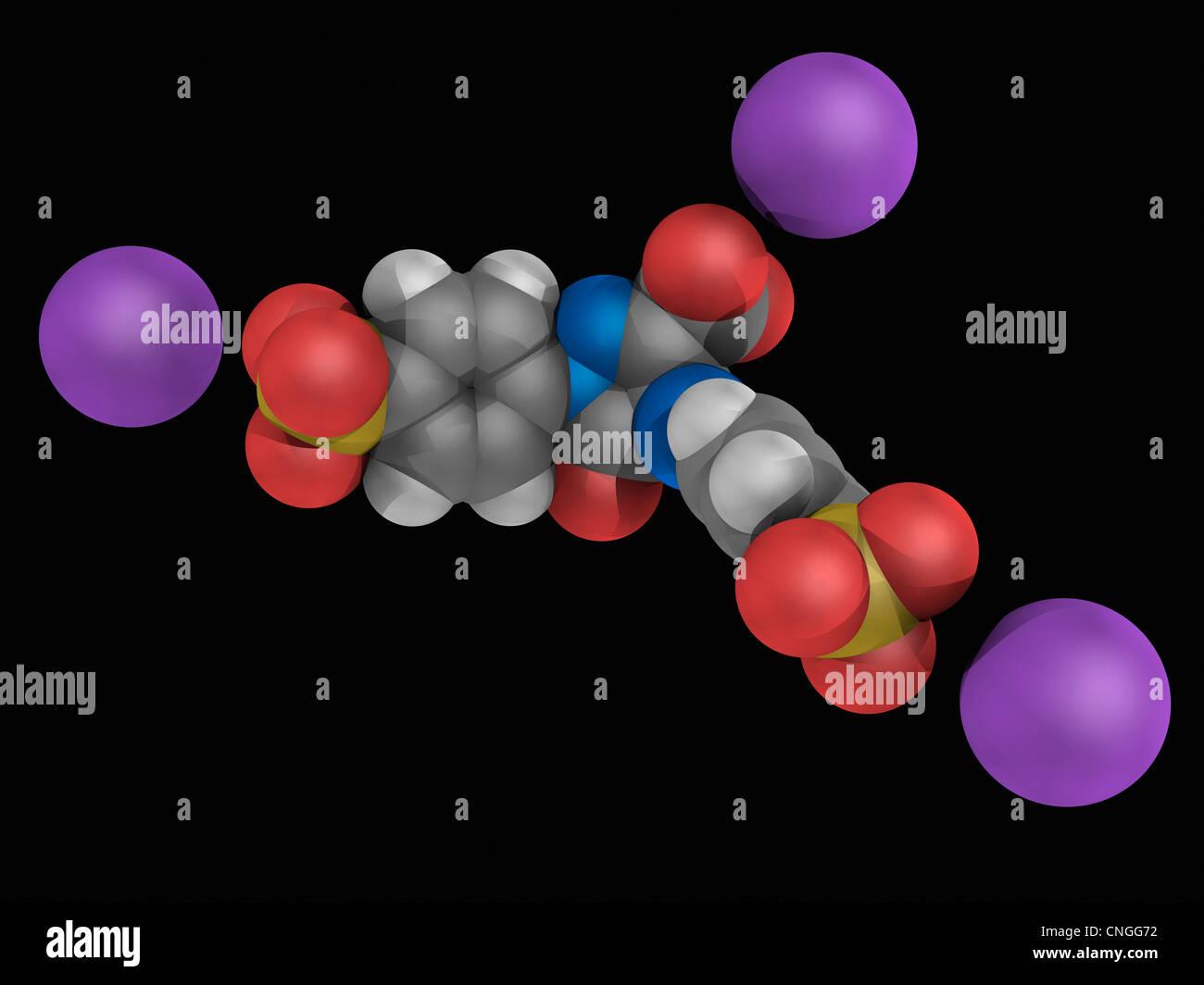 Tartrazin-Molekül Stockbild