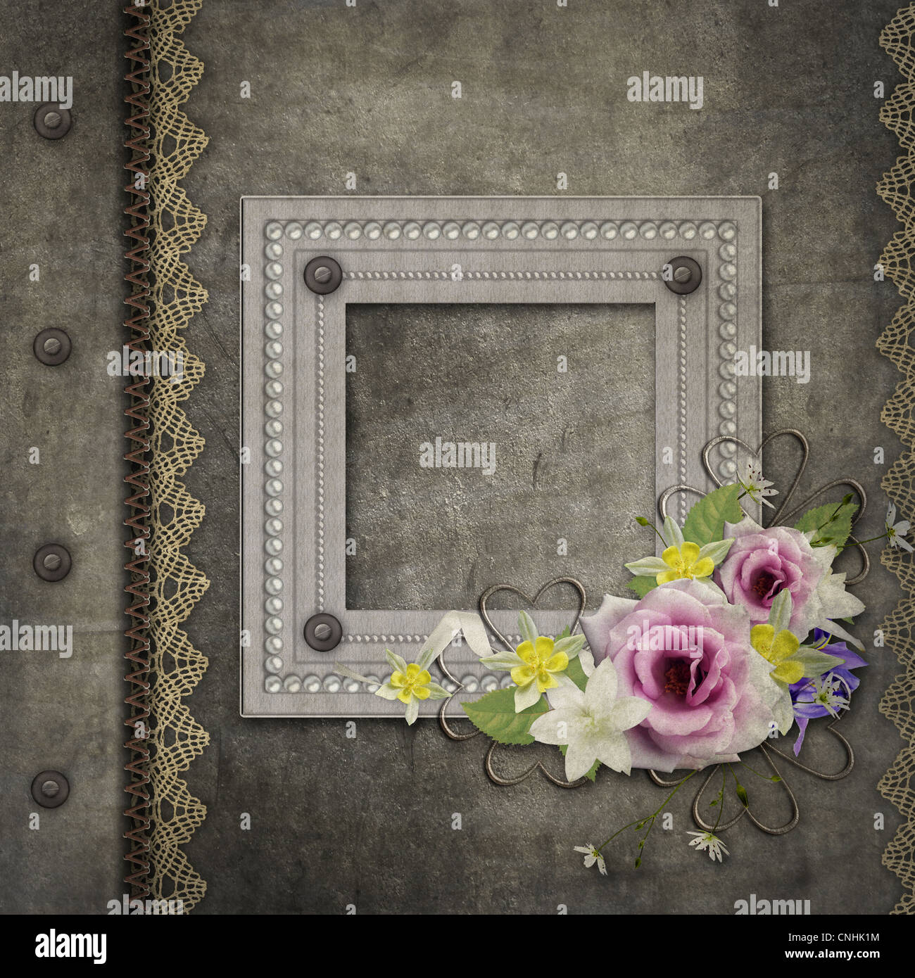 Alte Vintage Album-Cover mit Rahmen, rose, Perle, Spitze Stockfoto ...