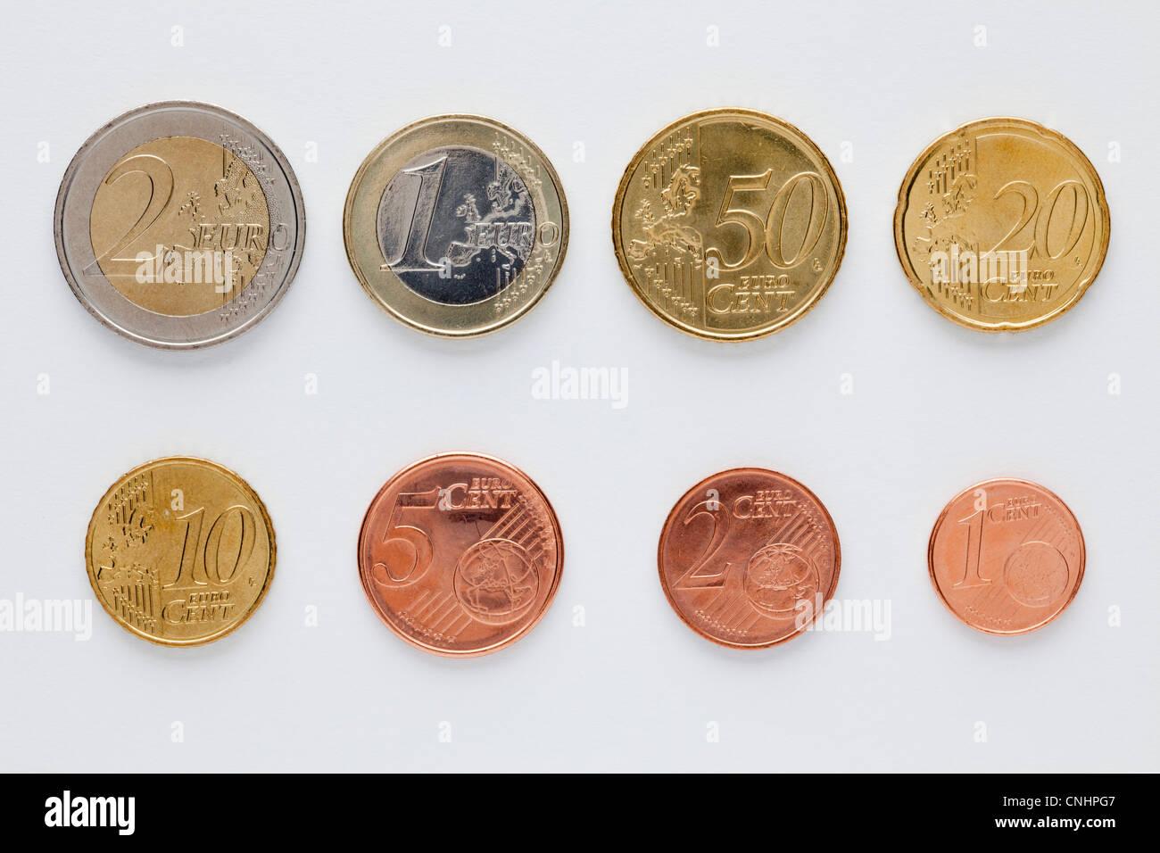 Euro Münzen Angeordnet In Numerischer Reihenfolge Vorderansicht