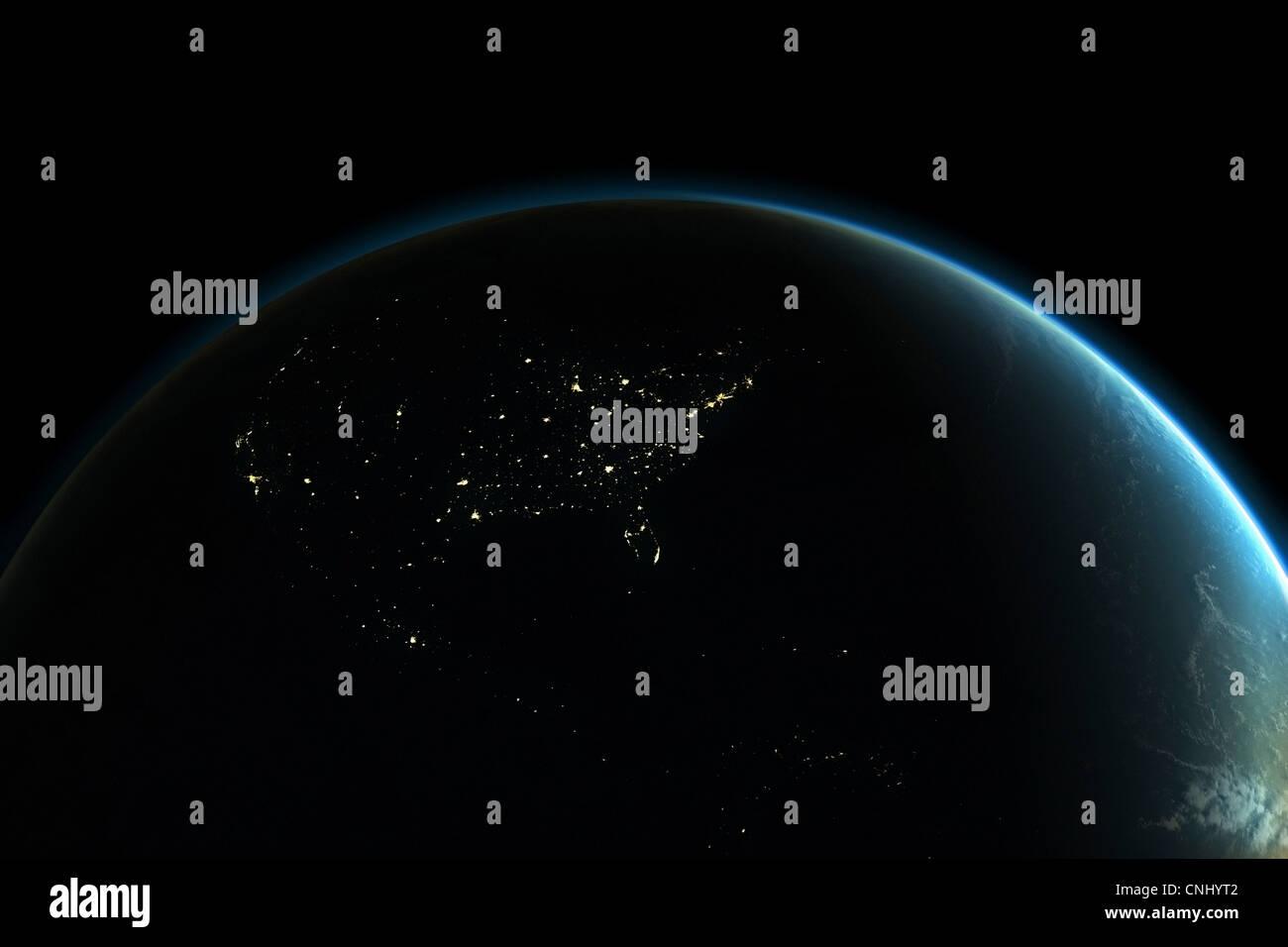Planetenerde mit Lichtern von Nordamerika bei Nacht Stockbild