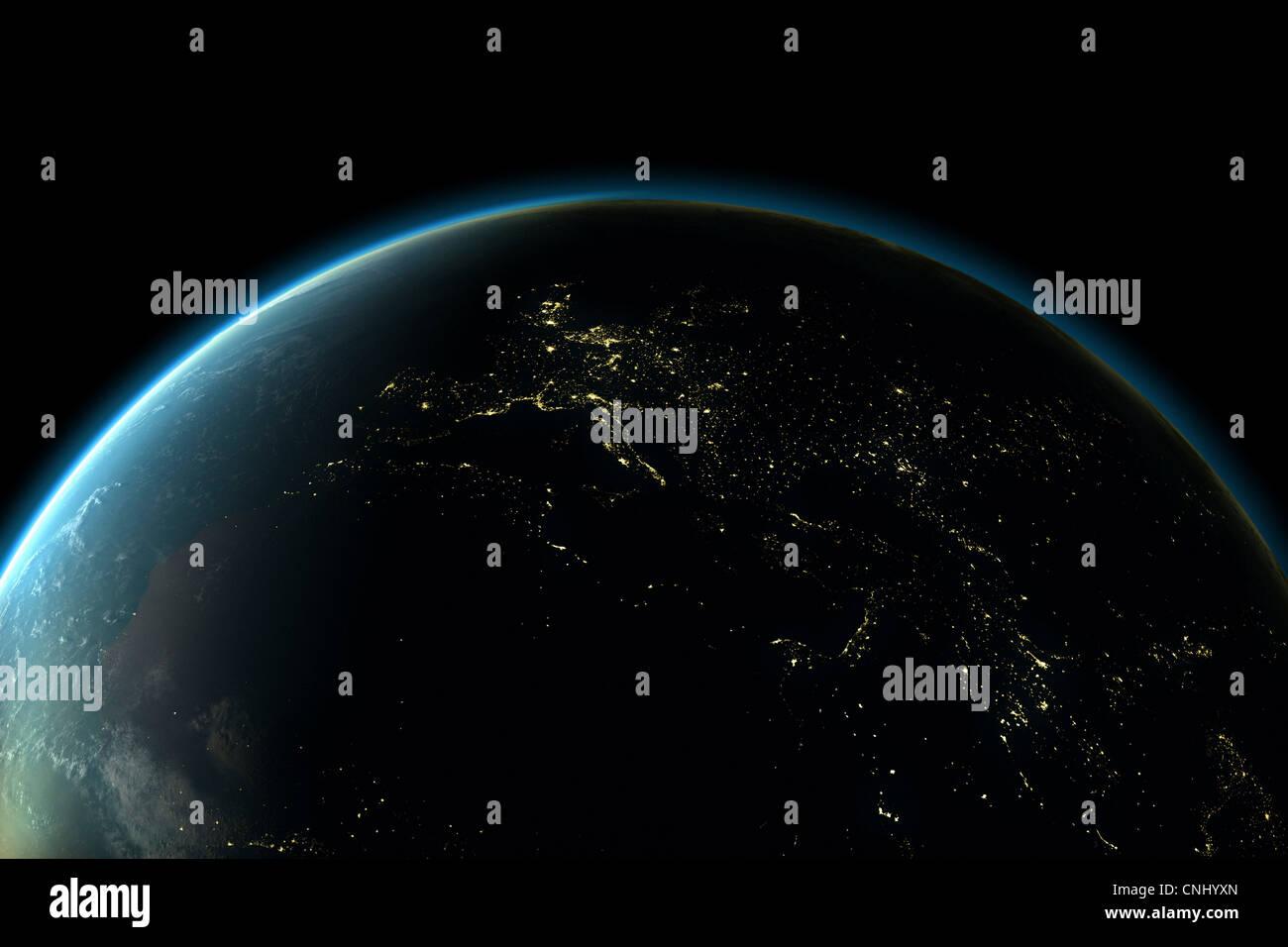 Planetenerde mit Lichter Europas in der Nacht Stockbild