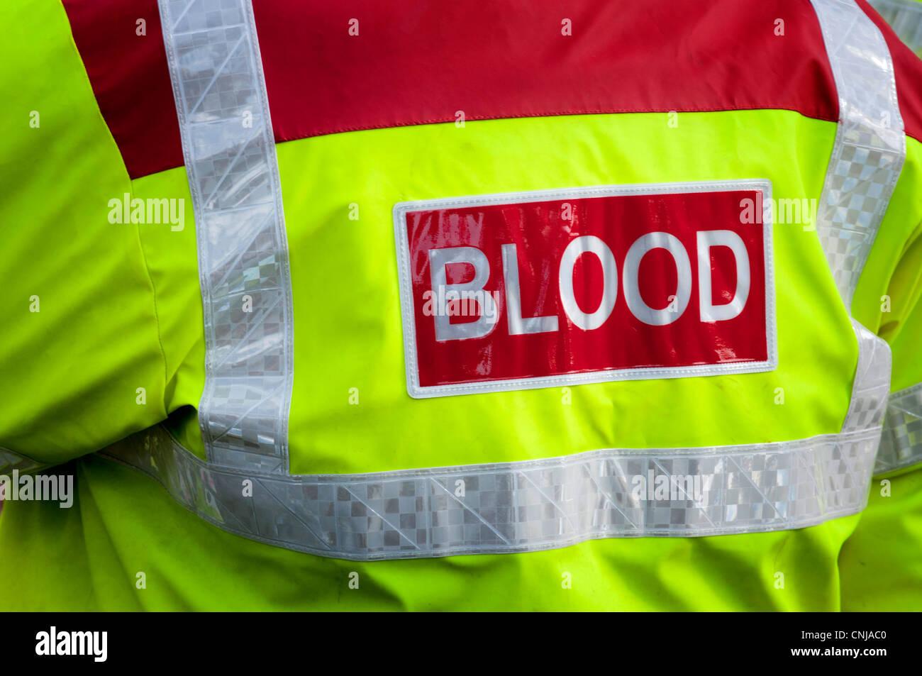 Blut Warnschutz Jacke Rettungssanitäter Stockbild