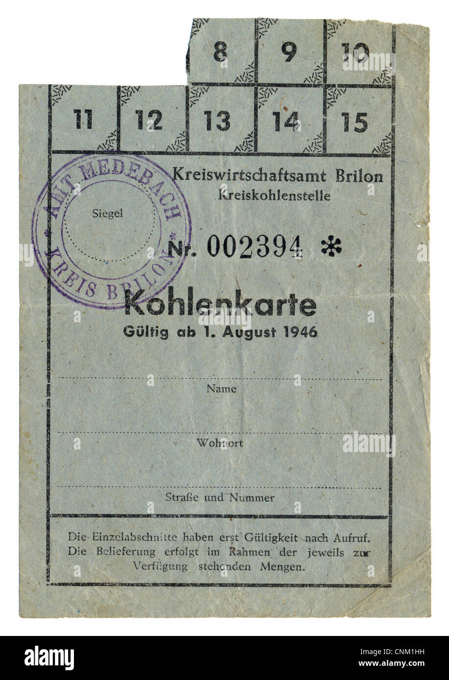 Ration Coupon Stockfotos & Ration Coupon Bilder - Alamy
