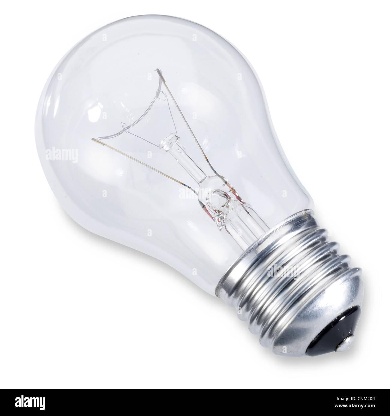 eine Edison Schraube Glühbirne isoliert auf weiss mit Beschneidungspfad Stockbild