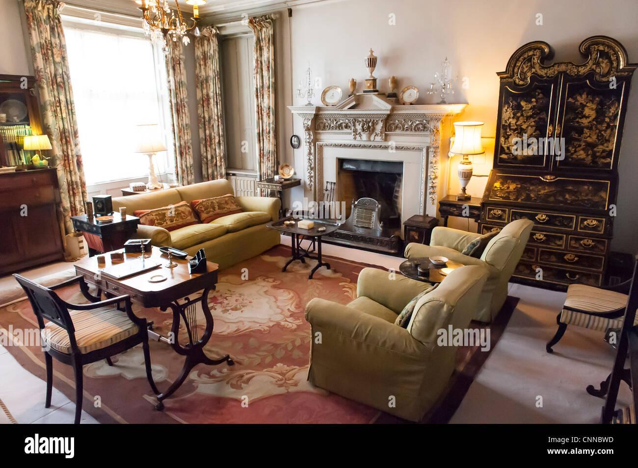 Wohnzimmer Innenraum Eines Viktorianischen Stil Englischen