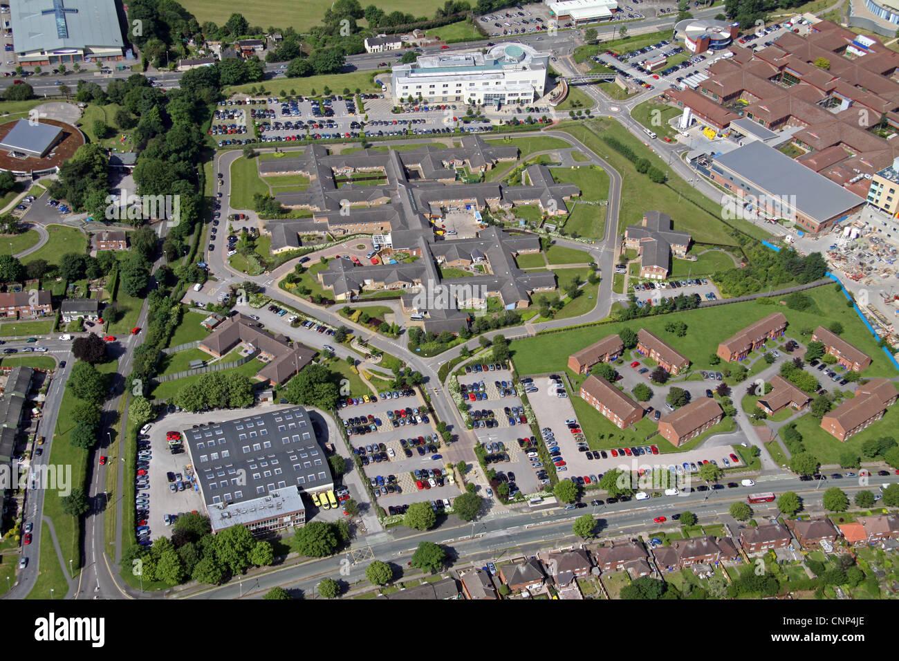 Luftaufnahme des Harplands Krankenhaus und anderen Krankenhäusern in Stoke on Trent Stockbild