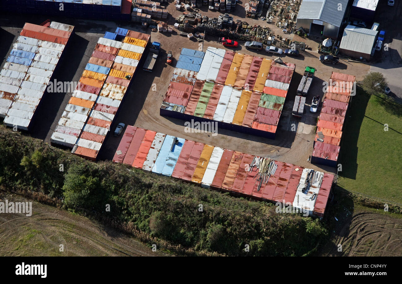 Luftaufnahme des eine Selfstorage-Anlage Stockbild