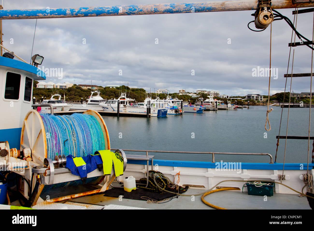 Angelboote/Fischerboote am Gewand. South Australia. Stockbild