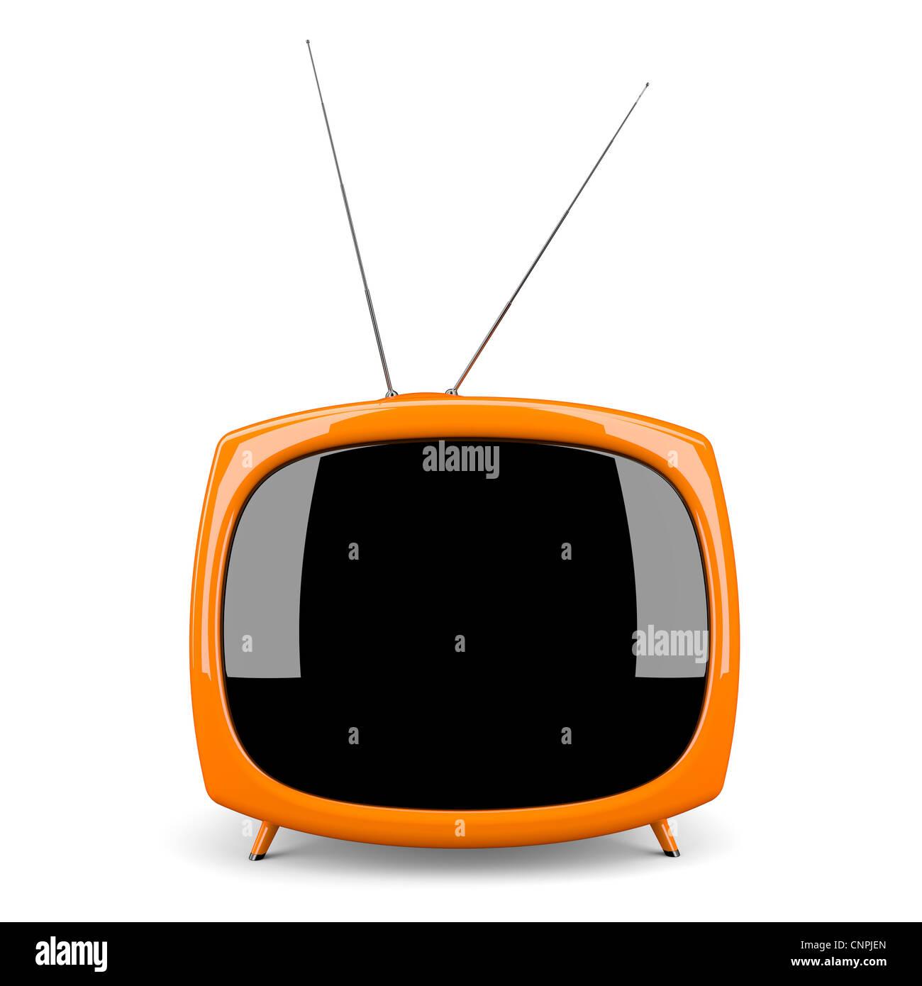 Retro-tv isoliert auf weißem Hintergrund Stockbild