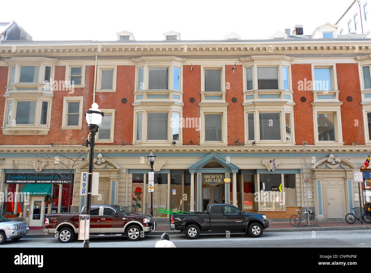 Browns Arcade auf dem NRHP seit 17. Januar 1983. 322-328 N. Charles Street in central Baltimore, Maryland. Stockbild