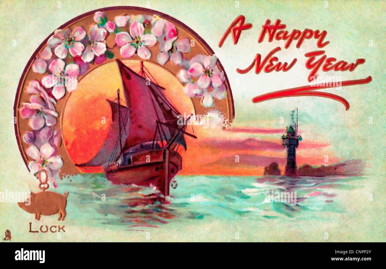 Ein frohes neues Jahr - Schiff, das durch einen Kranz aus Blumen mit ...