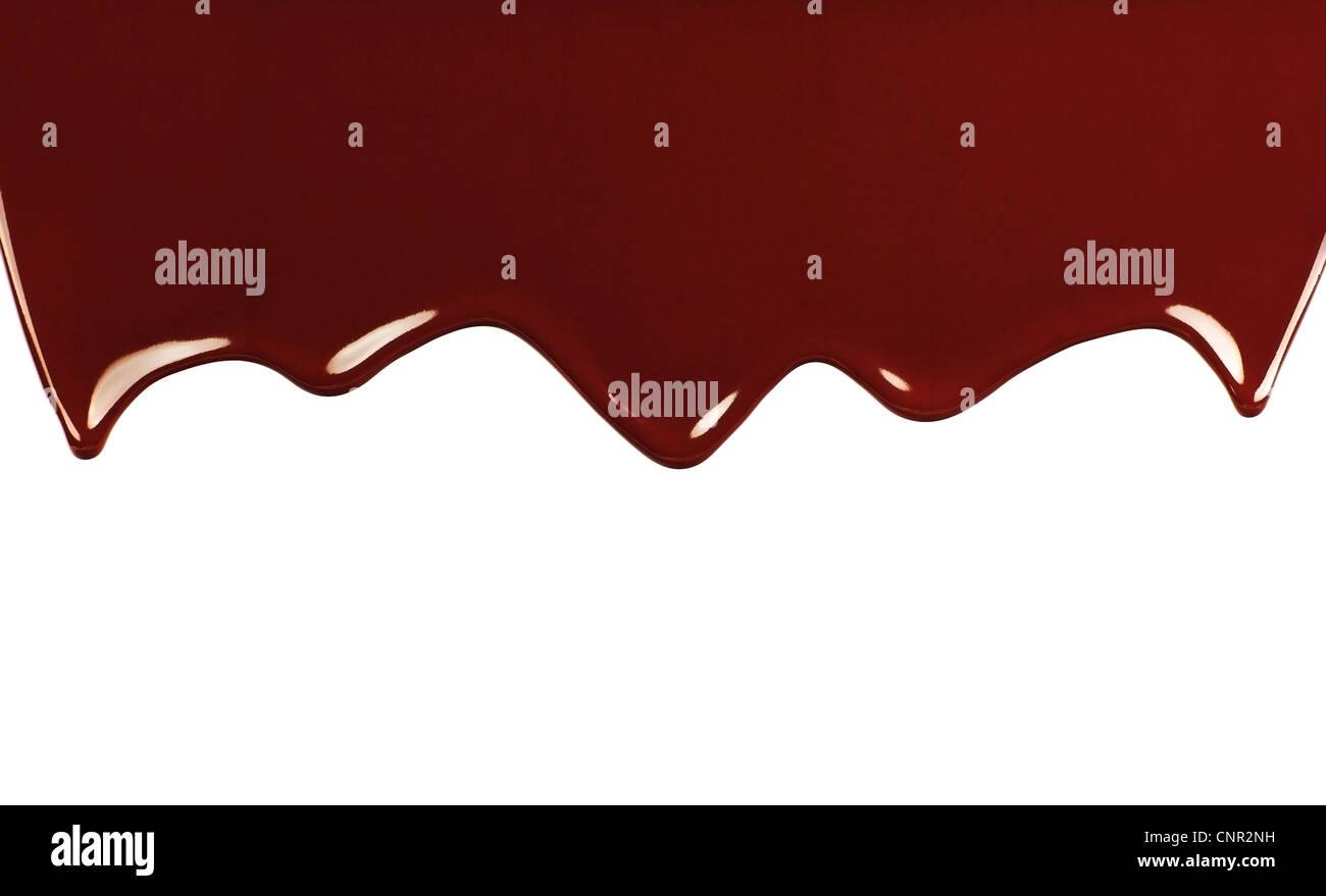 Dunkle süße leckere Schokolade Grenze, flüssige fallen braunen Hintergrund mit Text Platz Stockbild