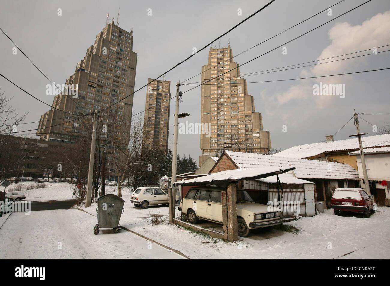 Östlichen Tor von Belgrad, der monumentale Wohnung Komplex der sozialistischen Architektur, in Belgrad, Serbien. Stockbild
