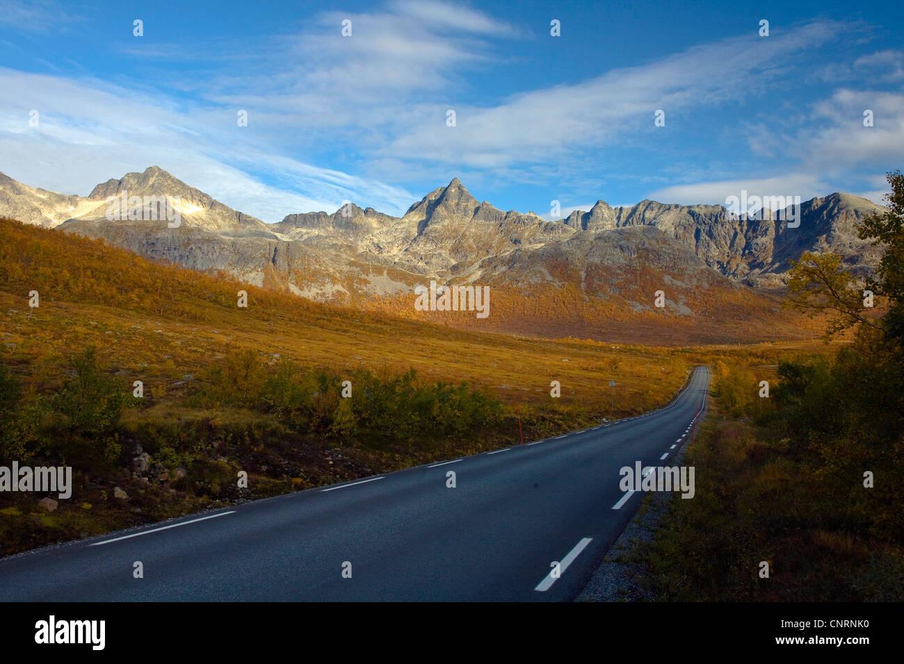 Herbst im nördlichen Norwegen, Norwegen, Troms, Kvaloeya Stockfoto