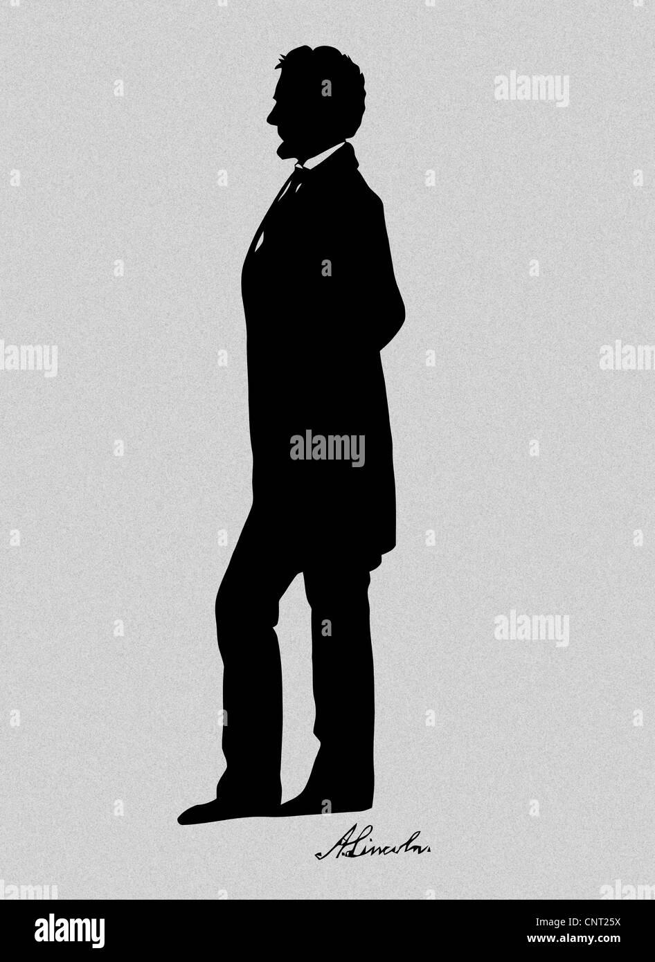 Präsident Abraham Lincoln stehende Silhouette und Lincolns Unterschrift. Stockbild