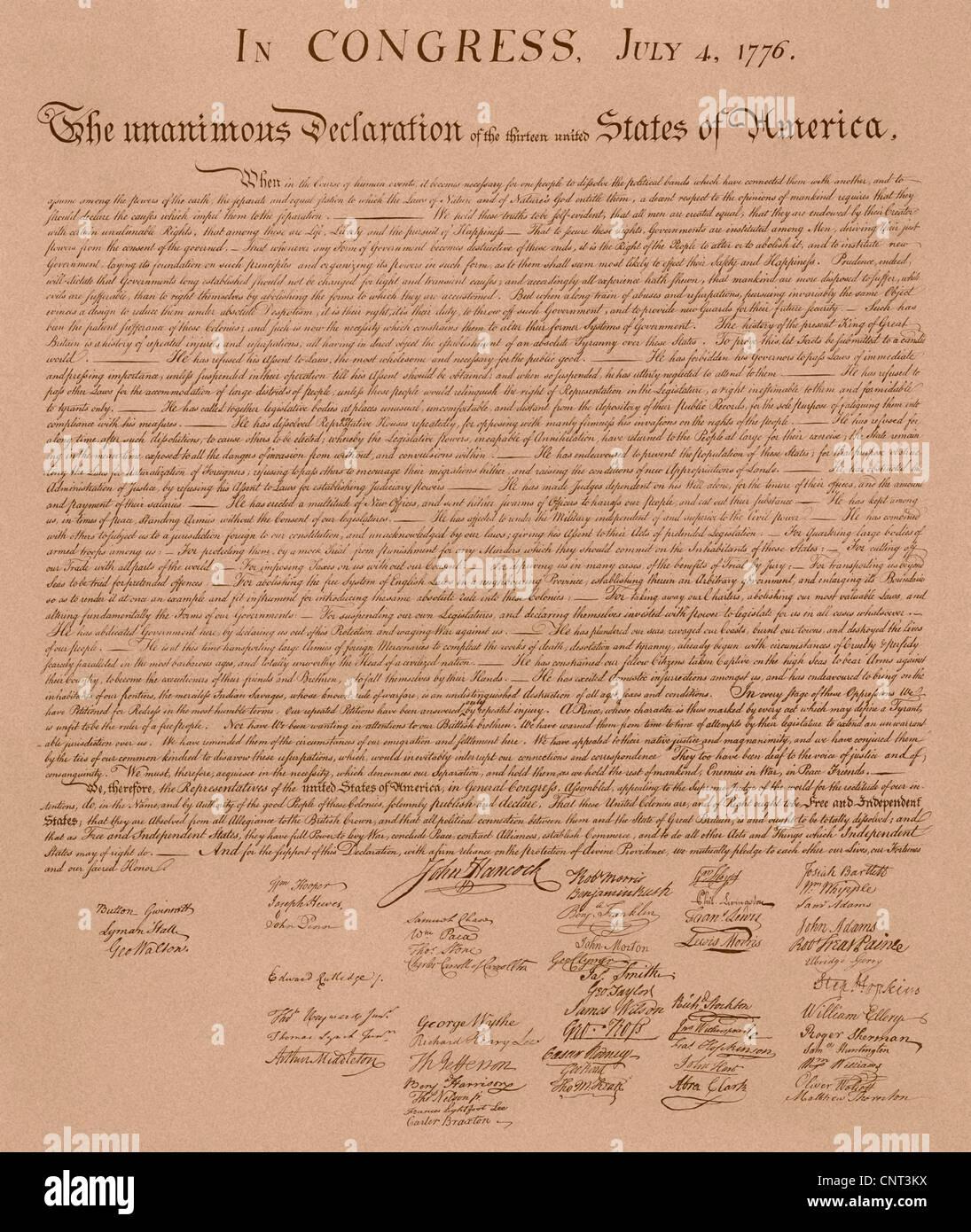 Vintage Kopie von The United States Declaration of Independence. Stockbild