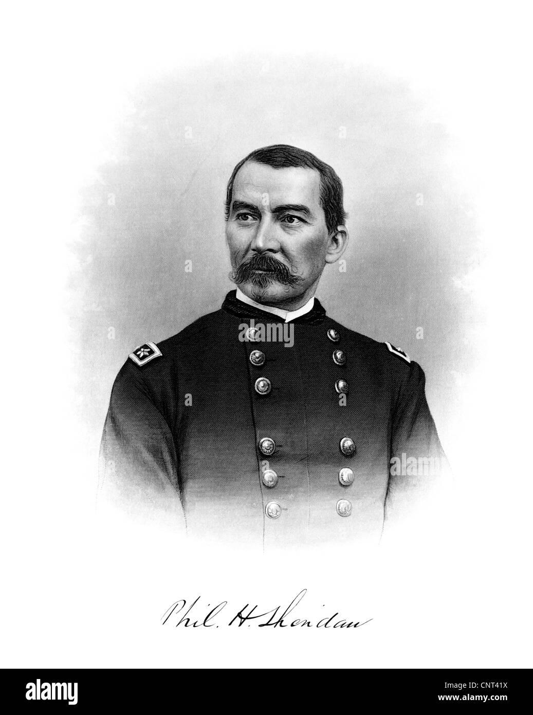 Vintage Bürgerkrieg Print von General Philip Sheridan und seine Unterschrift. Stockbild