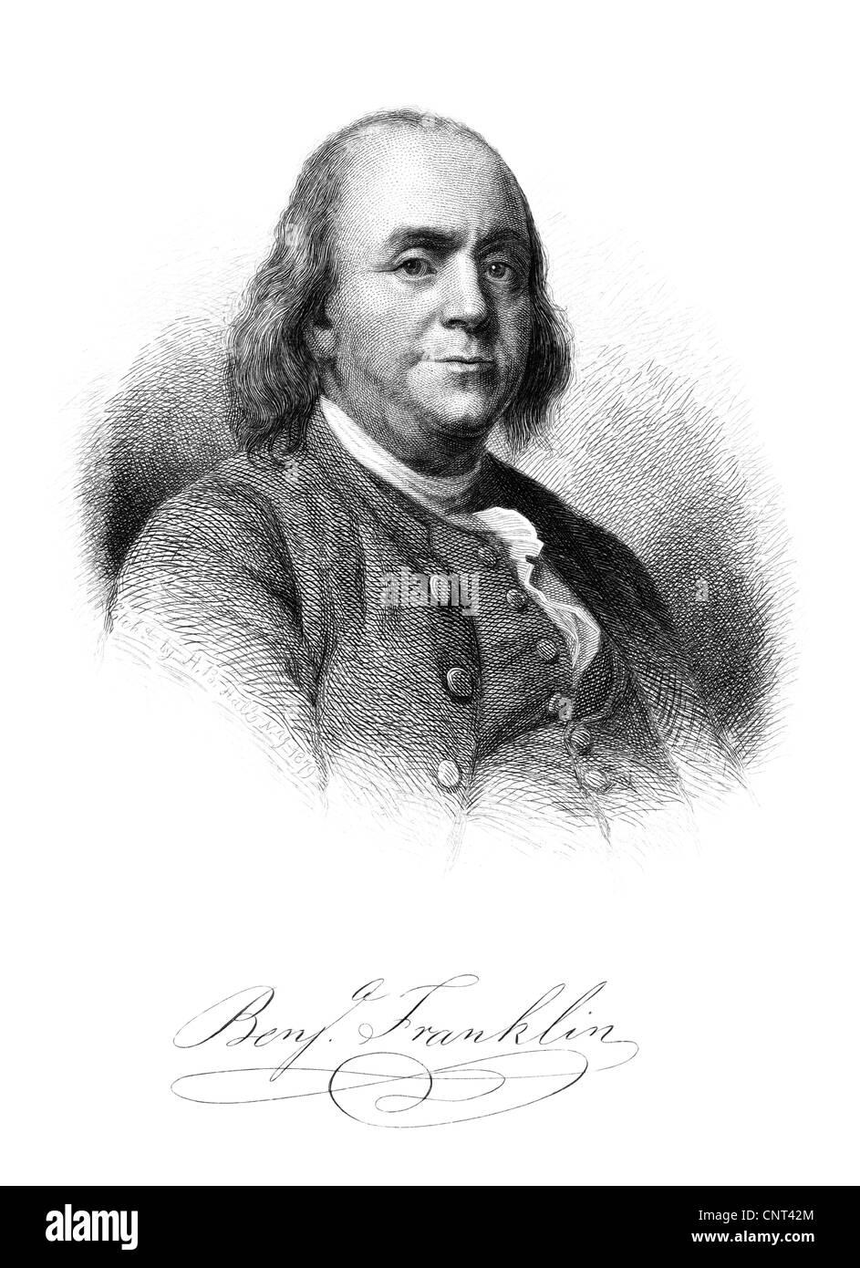 Vintage American History-Print von Benjamin Franklin und seine Unterschrift. Stockbild