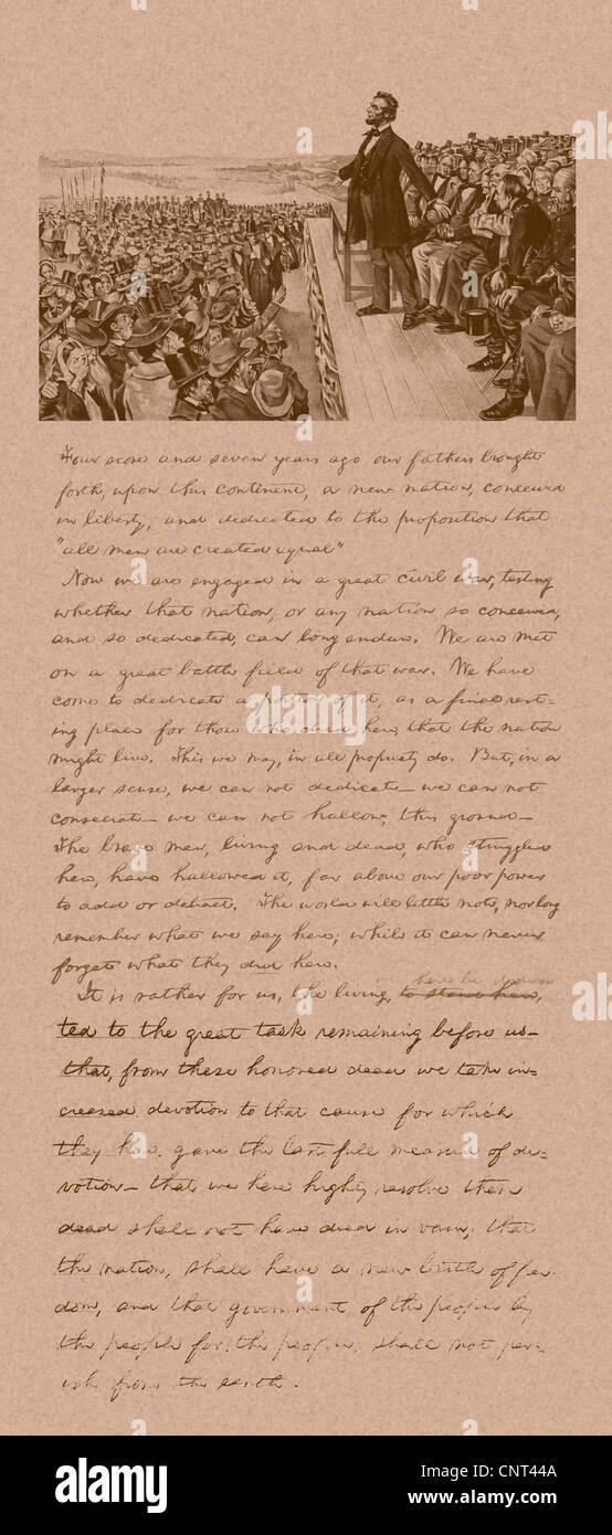 Vintage Bürgerkrieg Ära Druck von Präsident Abraham Lincoln die Gettysburg Adresse und eine Kopie seiner Notizen Stockfoto