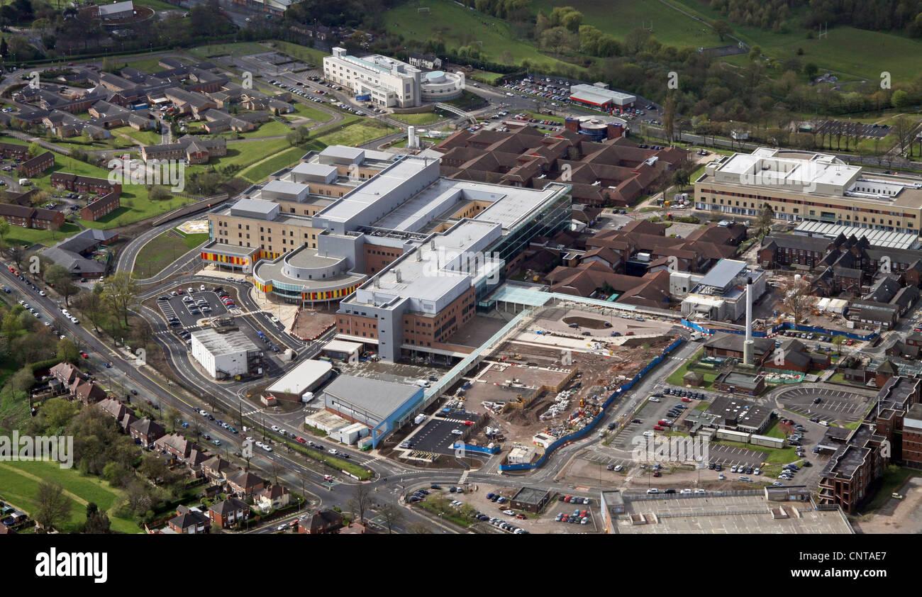 Luftaufnahme der University Hospital der North Staffordshire Stockbild