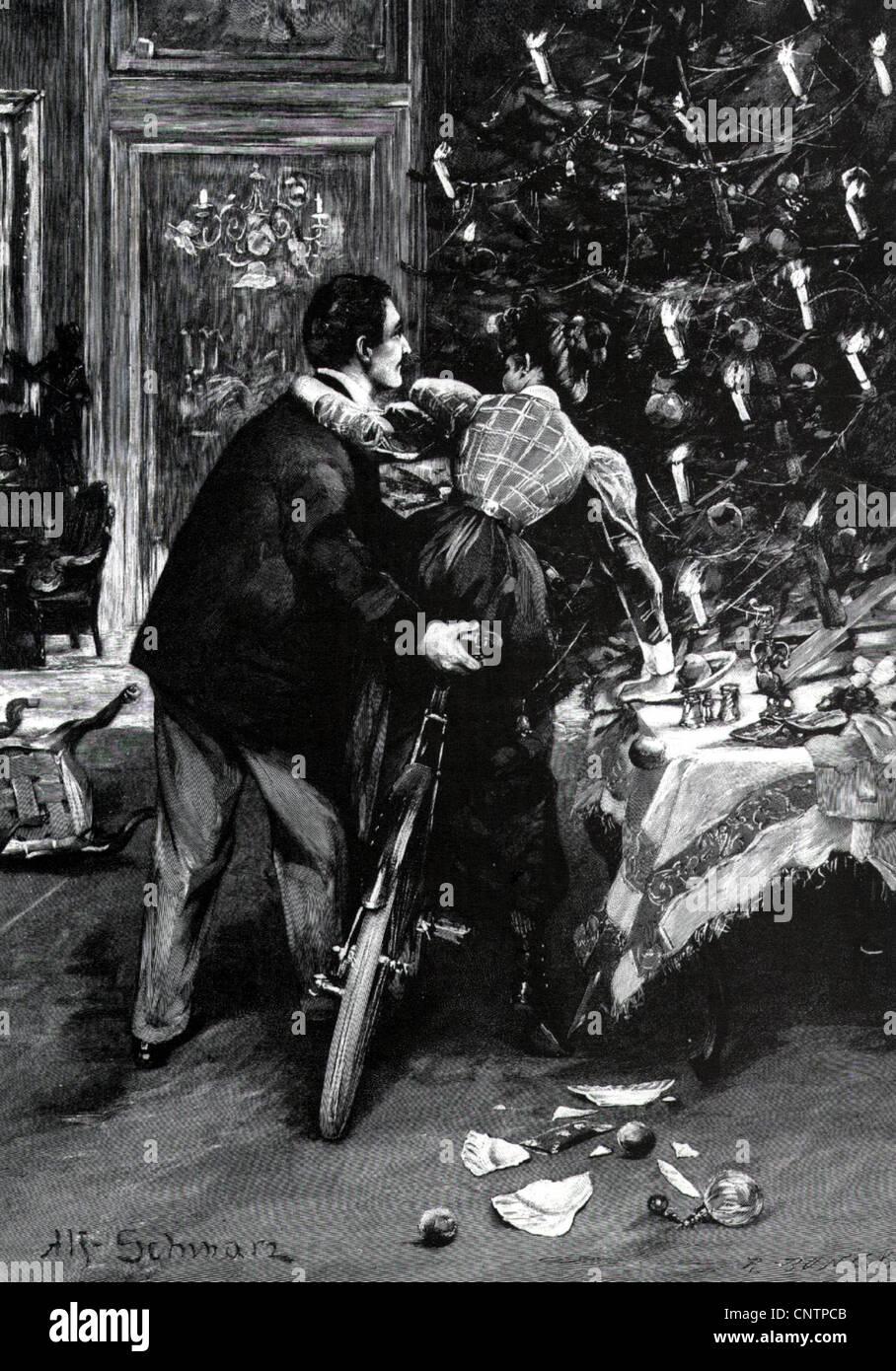 Weihnachten, Geschenke zu Weihnachten, Ehepaar versucht, ein Fahrrad ...