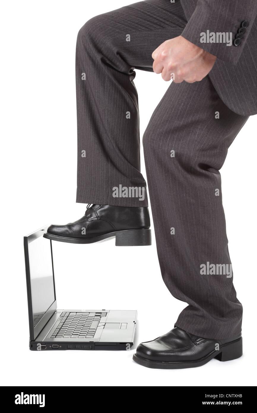 Laptop-Computer-Frust Stockbild