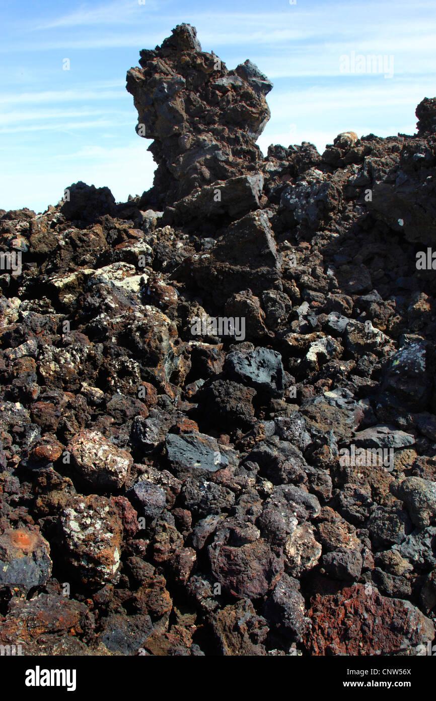 Bizarre vulkanische Felsformationen, Kanarische Inseln, Lanzarote, Nationalpark Timanfaya Stockbild