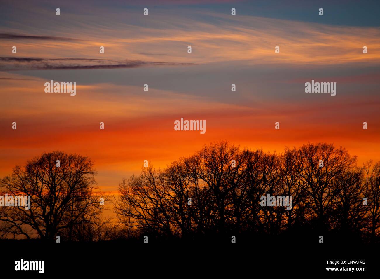 Bunter Abend-Himmel in der Abenddämmerung in Råde, Østfold Fylke, Norwegen. Stockbild