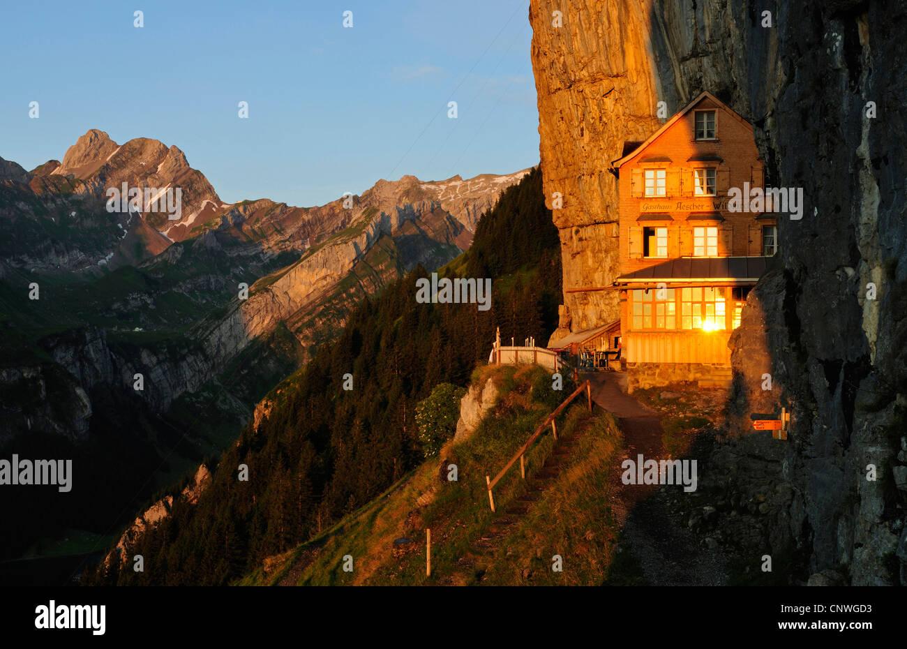 Berggasthaus Aescher im Alpstein-massiv, der Schweiz, Kanton Appenzell Stockbild