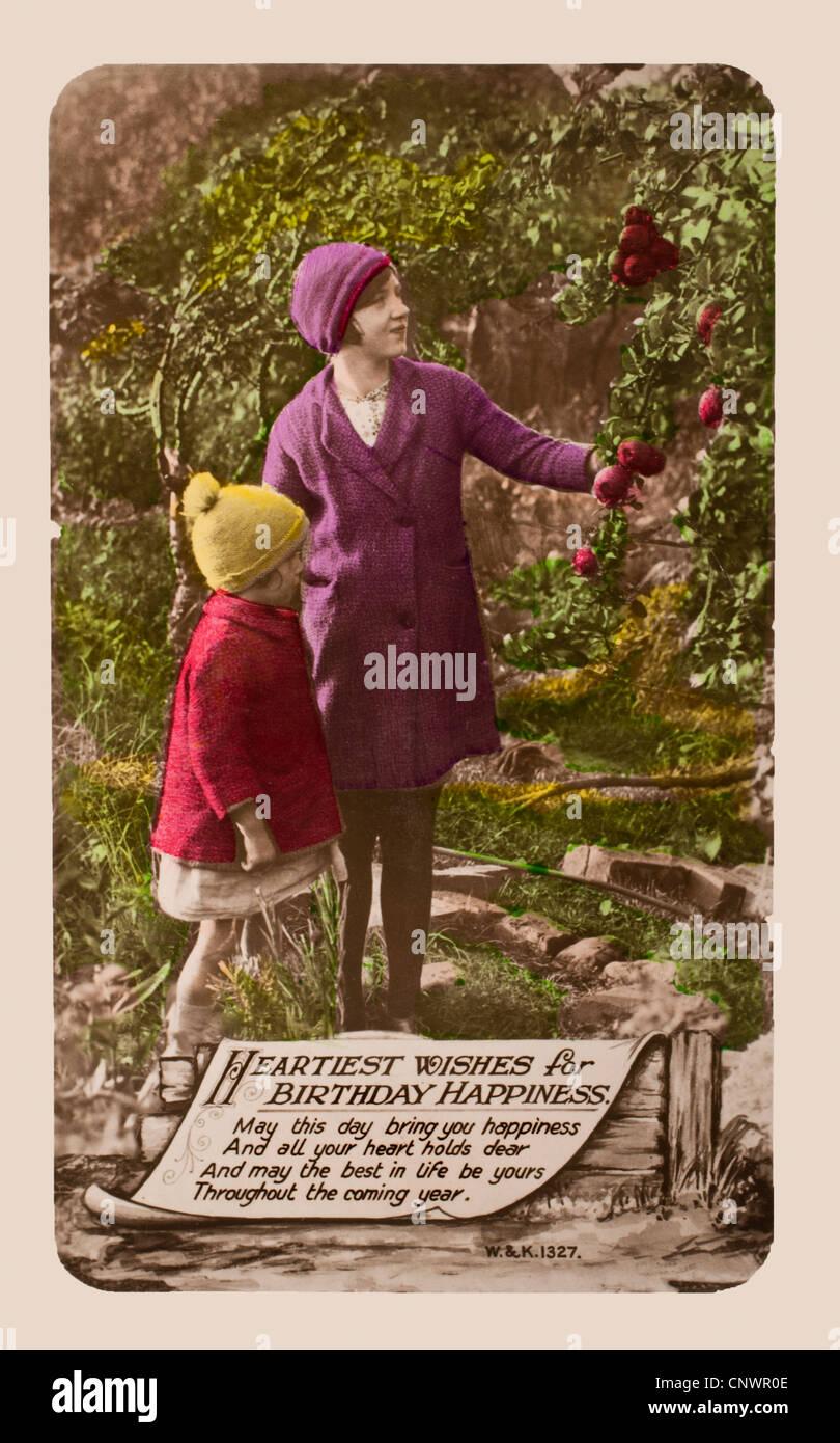 20er Jahre Geburtstagskarte in Form einer Postkarte. Handgemalte