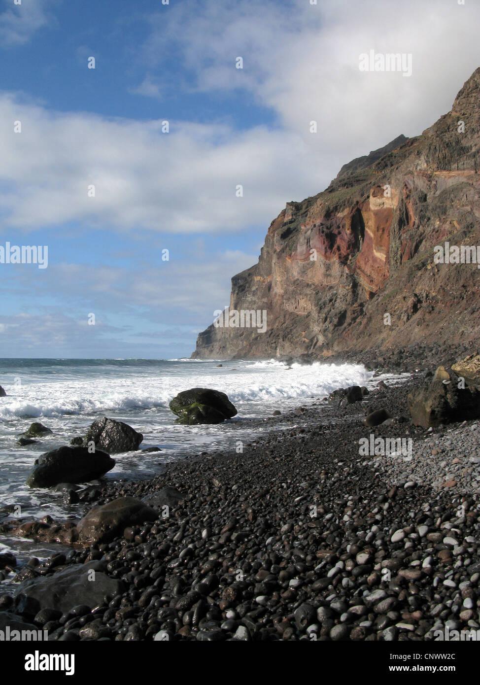 Steilküste auf Gomera, Valle Gran Rey, Playa de Ingles, Kanarische Inseln Stockbild