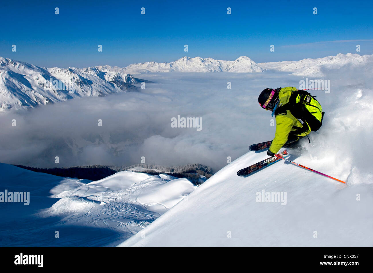 Skifahrer in Sainte-Foy-Tarentaise Skigebiet nördlich der Alpen, Frankreich Stockbild