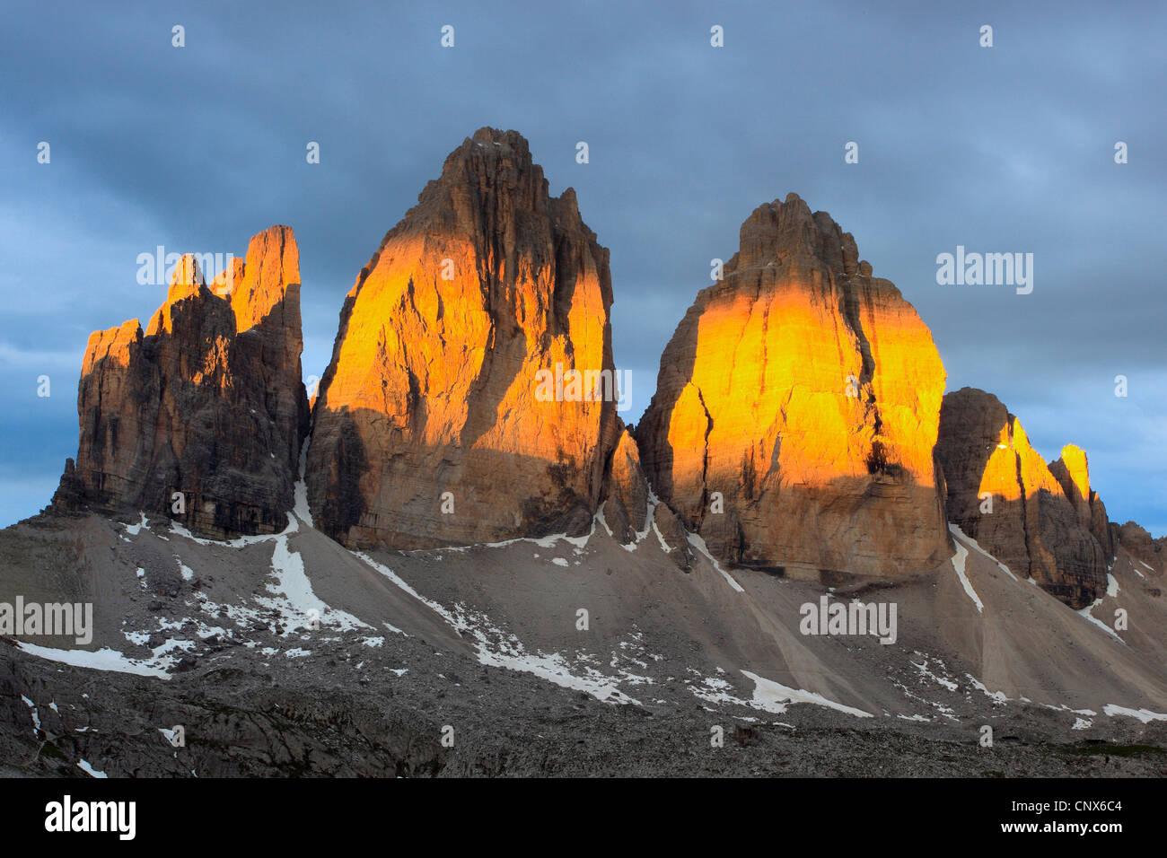Die Tre Cime di Lavaredo im Morgenlicht, Italien, Südtirol, Dolomiten Stockbild