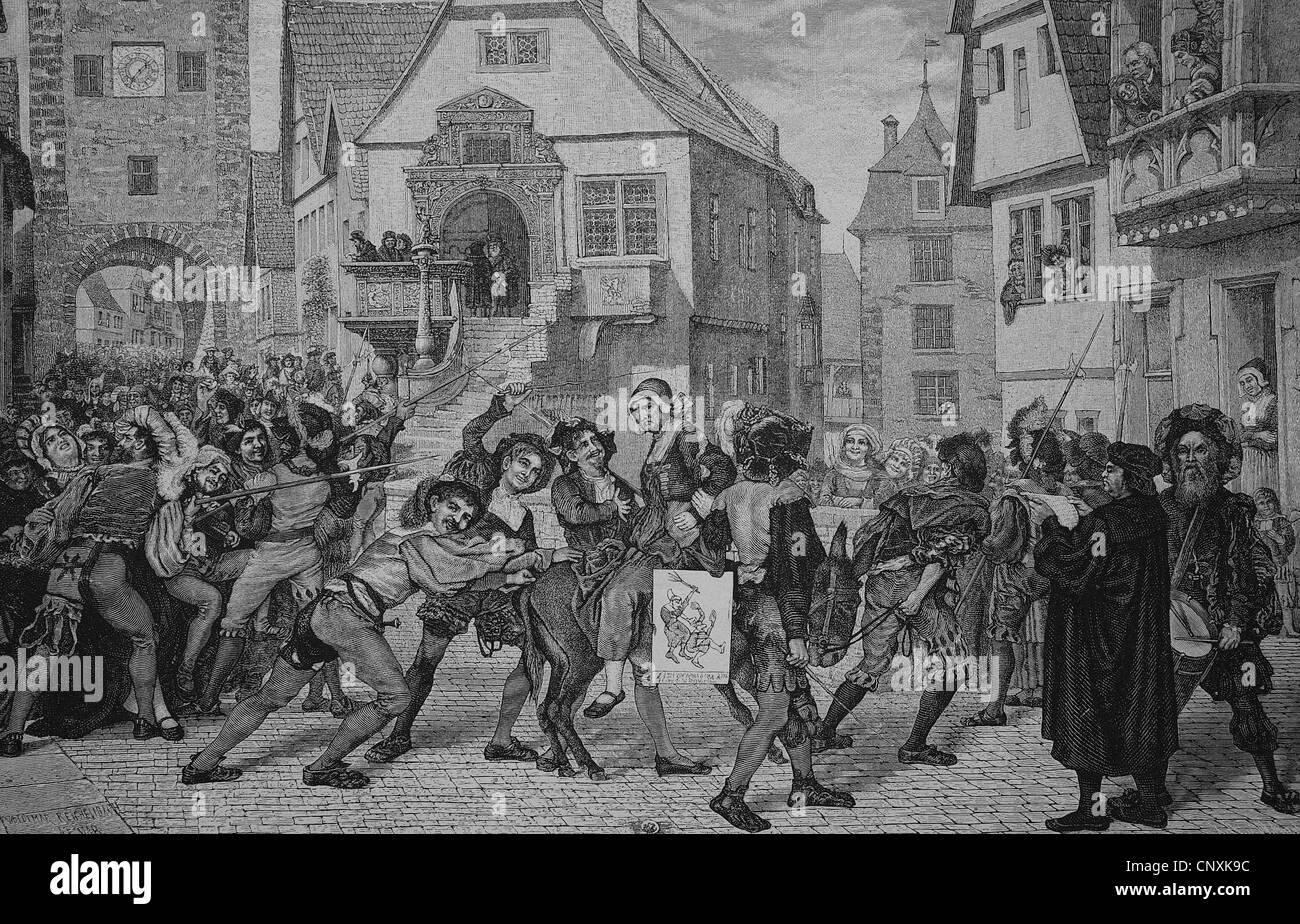 Strafe für innere Unruhen im Mittelalter, historische Gravuren, 1883 Stockbild